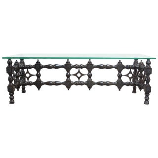 Renaissance-Style Carved Ebonized Oak Coffee Table