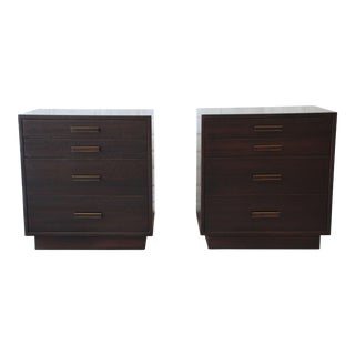 Harvey Probber Mid-Century Mahogany 4 Drawer Nightstands - a Pair