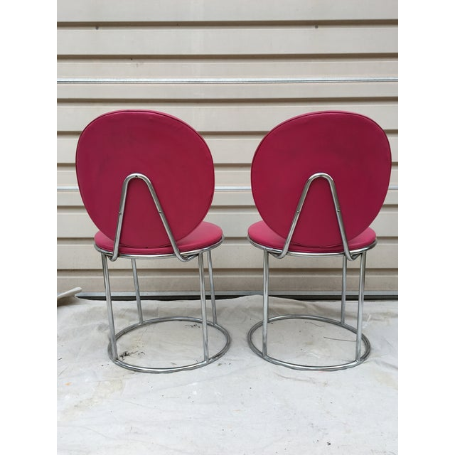 Mid Century Pink Vinyl Accent Chairs - a Pair - Image 3 of 6