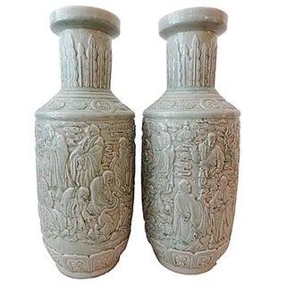 Celadon Porcelain Buddha Vases - Pair