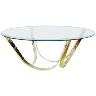 Roger Sprunger-Style Glass & Brass Table