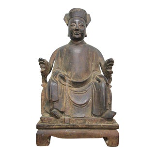 Asian Carved Wood Buddha Statue