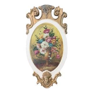 Vintage Hollywood Regency Floral Vase Original Painting on Sculptural Gilt Wood Panel