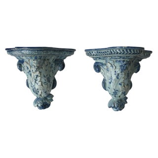 Vintage Blue & White Glazed Brackets - A Pair