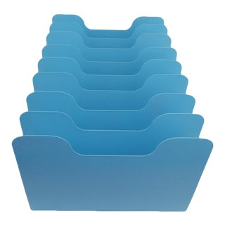 Aqua Blue Desk Office Organizer Mail Sorter Letter Holder