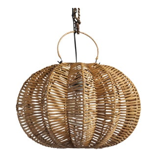 Split Stained Rattan Pumpkin Lantern 16""