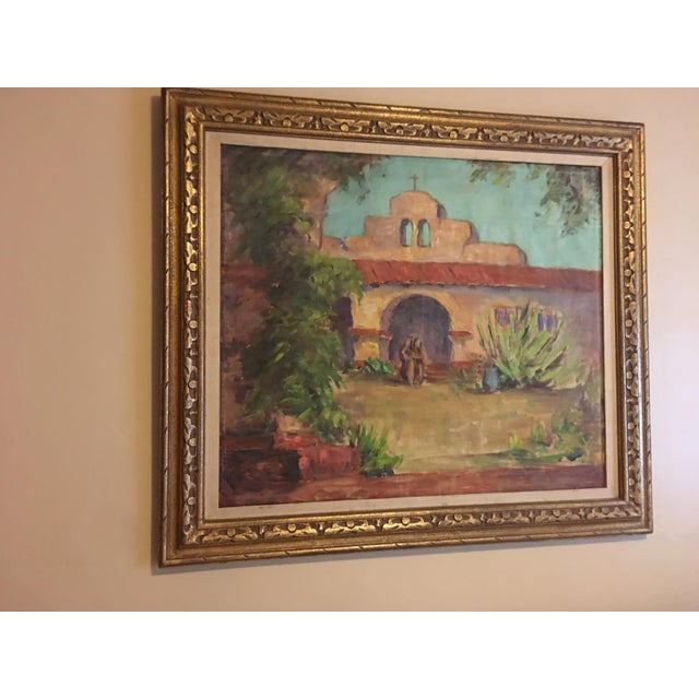 Large Vintage Mission Oil Painting on Silk Faille - Image 3 of 9