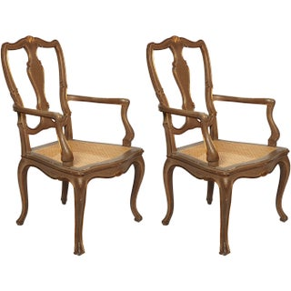 Vintage Italian Painted Armchairs - A Pair