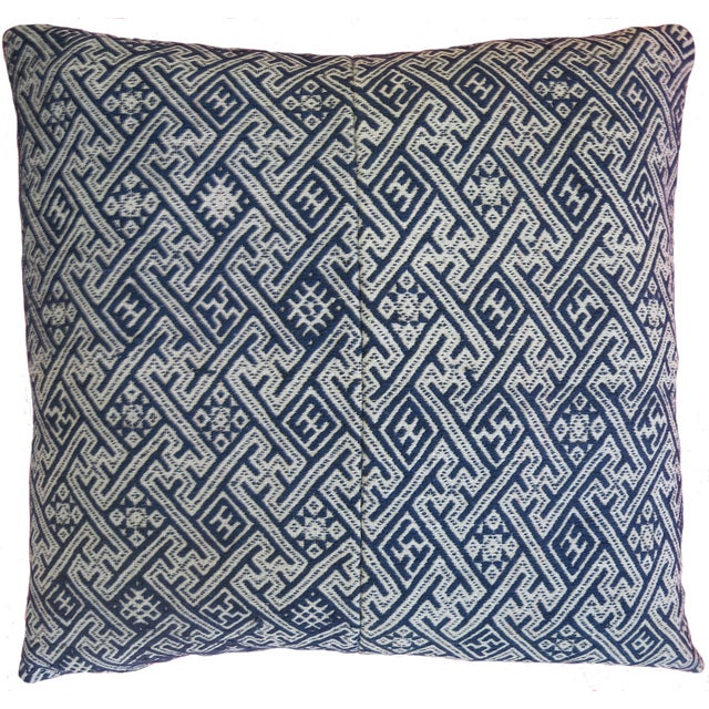 New Hmong Indigo Wedding Blanket Pillow - Image 2 of 4