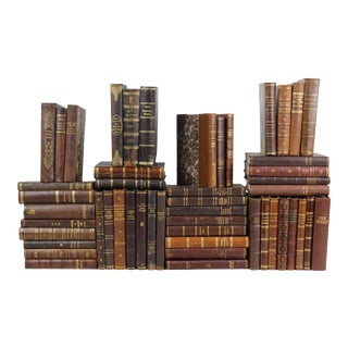 1800s-1950s Leather-Bound Books - Set of 50