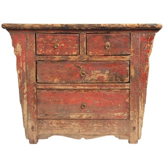 Vintage Ming Distressed Rust Painted Dresser