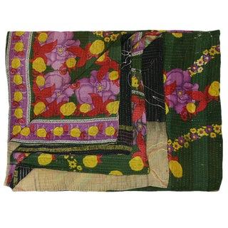 Vintage Green Botanical Kantha Quilt