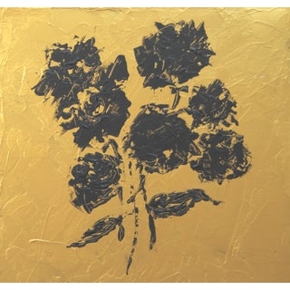 Abstract Gold and Black Floral Painting by C. Plowden