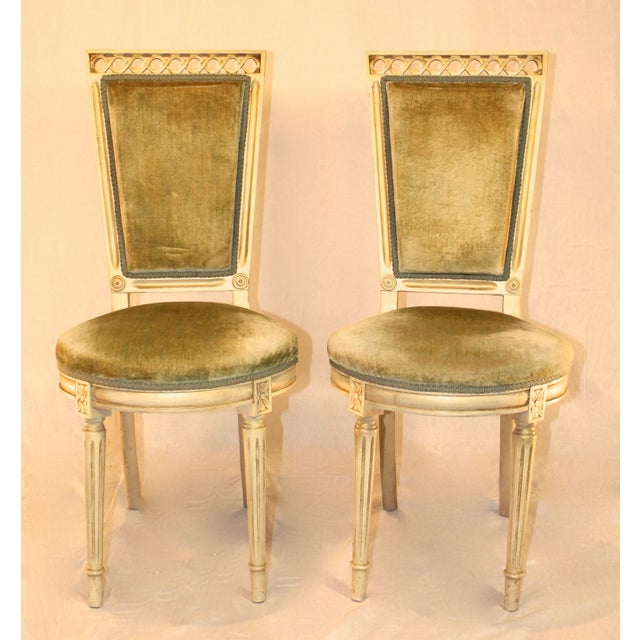 Louis Style Velvet Accent Chairs - A Pair - Image 2 of 4