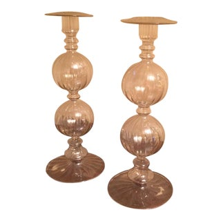 Vintage Blown Glass Candle Holders - A Pair