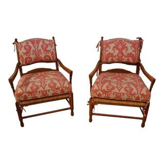 Ikat French Ladderback Cushioned Rush Seat Chairs - A Pair