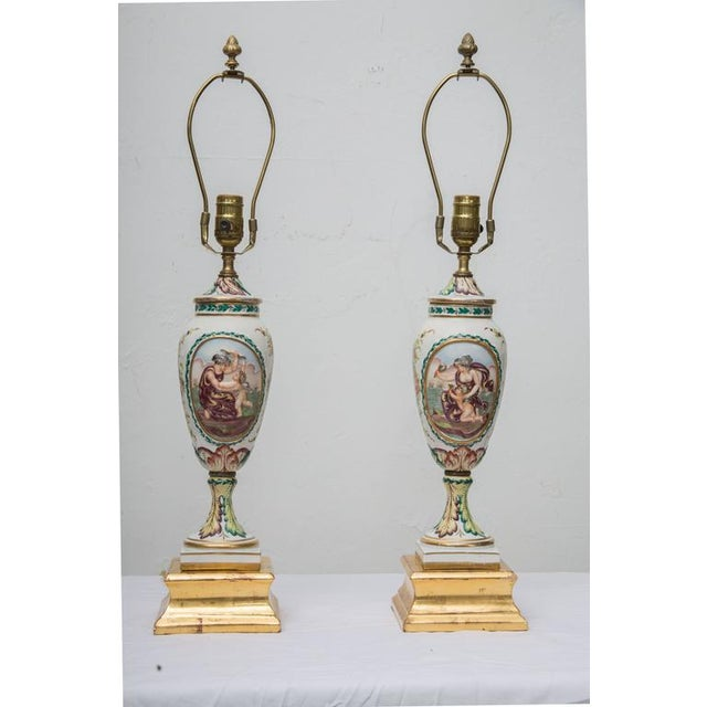 19th Century Pair of Italian Porcelain Capodimonte Vases as Table Lamps - Image 2 of 8
