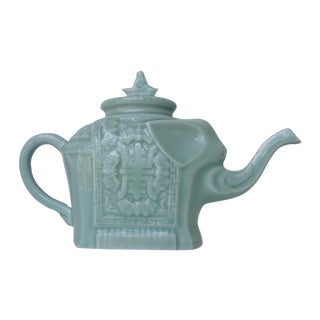 Vintage Asian Porcelain Celadon Elephant Tea Pot