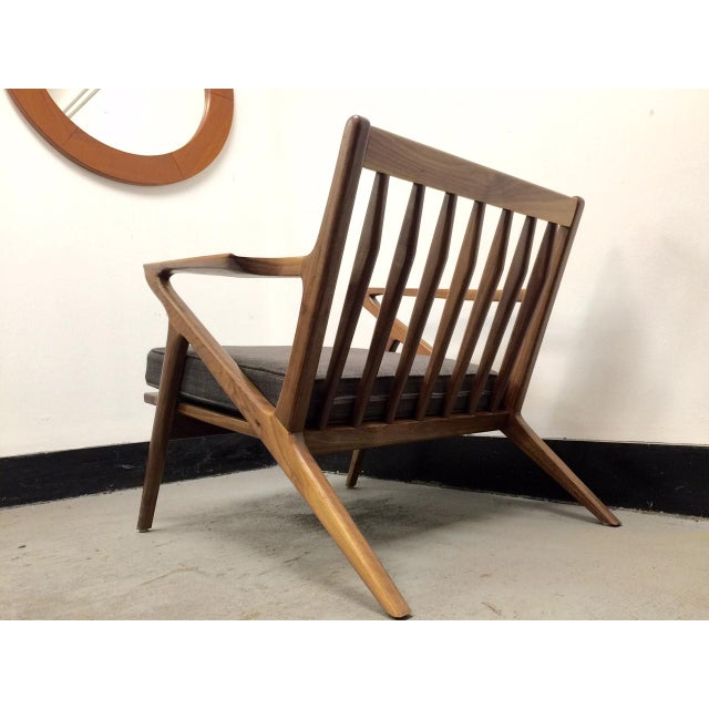 Mid century walnut z chair chairish for Z chair mid century
