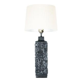Vintage Black Enamel Brutalist Lamp