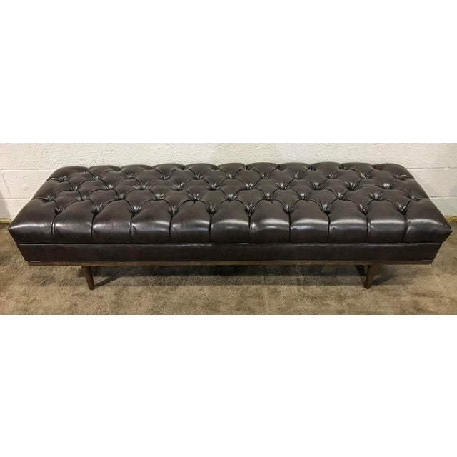 Mid Century Modern Chesterfield Tufted Walnut Bench - Image 5 of 6