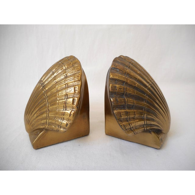 Image of Brass Sea Shell Bookends - A Pair