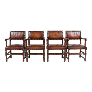 Vintage Jacobean-Style Leather Armchairs - Set of 4