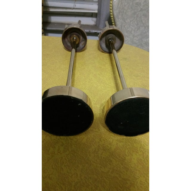 Image of Mid-Century Modern Brass Candlestick Holders - A Pair