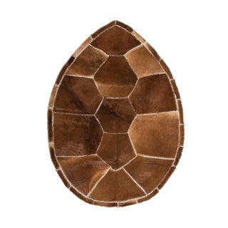 "Hair-on-Hide Turtle Shell Shaped Cowhide Patchwork Area Rug - 5'2"" X 7'"