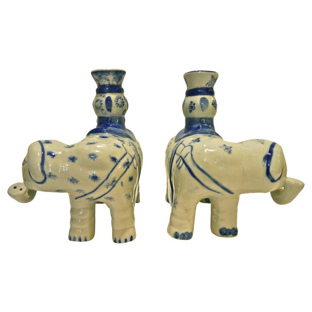 Blue & White Elephant Candleholders - A Pair - Image 3 of 6