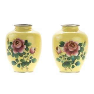 C. 1940s Japanese Yellow Cloisonné Vases - A Pair