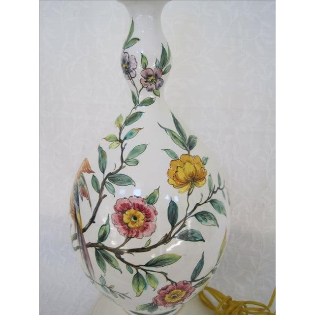 Mid-Century Hand Painted Lamp Stylized Bird - Image 3 of 8