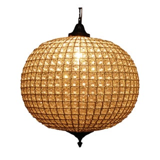 Vintage Beaded French Globe Chandelier