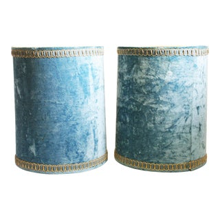 Vintage Hollywood Regency Blue Crushed Velvet Lamp Shades - A Pair