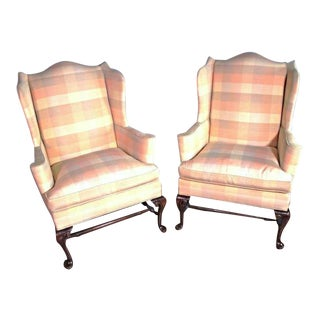 Queen Anne Wingback Chairs - A Pair