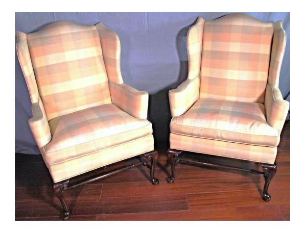 queen anne wingback chairs a pair