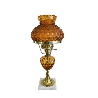 Amber Glass Lamp With Marble Base
