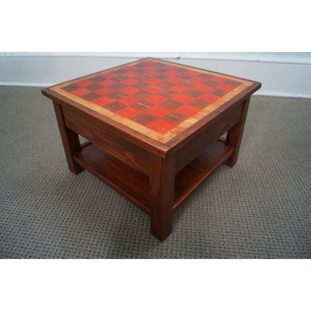 Solid Pine Primitive Checkerboard Top Side Table - Image 7 of 10