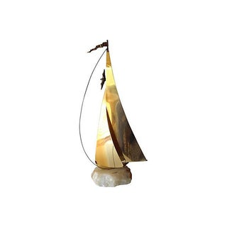 Brass Metal Sailboat Sculpture by DeMott