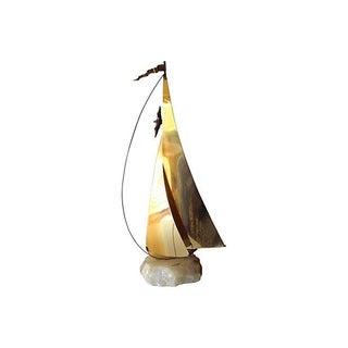 Brass Metal Sailboat Sculpture by DeMott