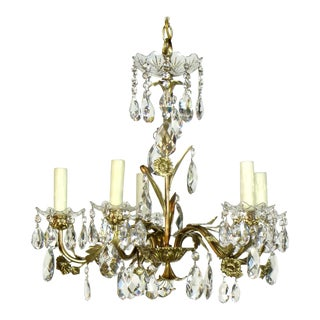 Swedish Brass and Crystal Chandelier