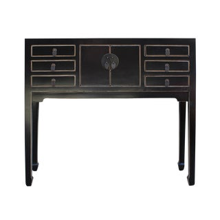 Chinese Distressed Black Narrow Slim Foyer Side Table