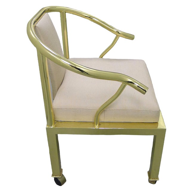 Brass Horseshoe Chair by Mastercraft - Image 4 of 4