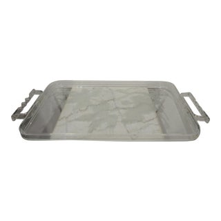 Mid-Century Etched Grape Leaves Lucite Tray Twisted Handles
