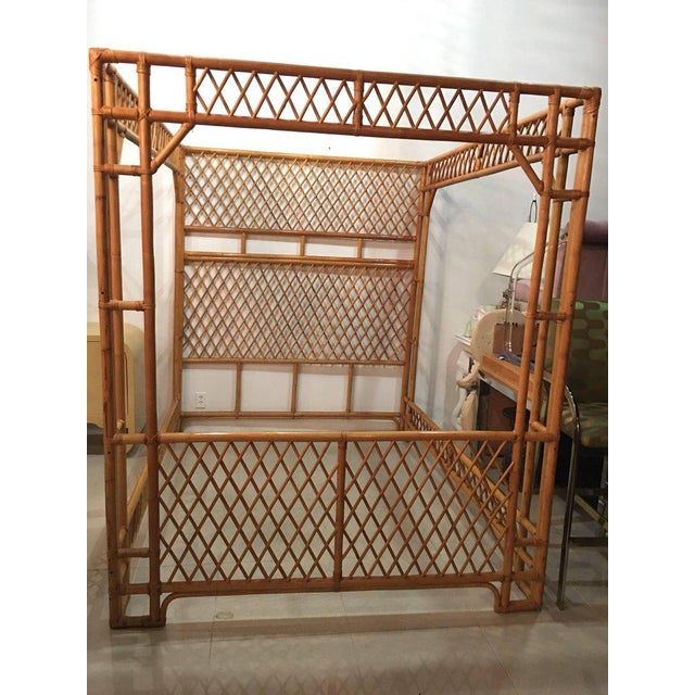Rattan Bamboo Chinese Chippendale Queen Canopy Bed - Image 9 of 12