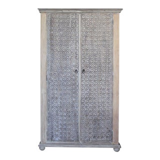 Teak Carved Scroll Armoire
