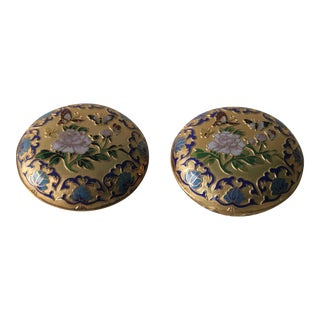 Gilt Enamel Boxes - A Pair