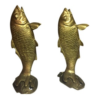 Brass Koi Fish Bookends - a Pair
