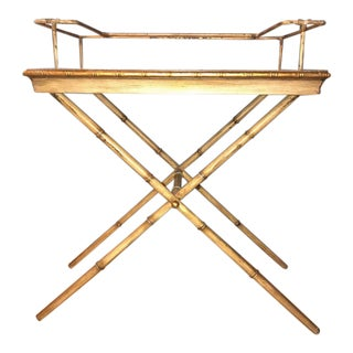 Indoor Outdoor Bamboo Form Serving Tray on Stand