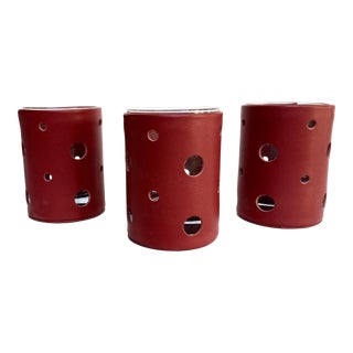 Red Leather Candle Holders - Set of 3